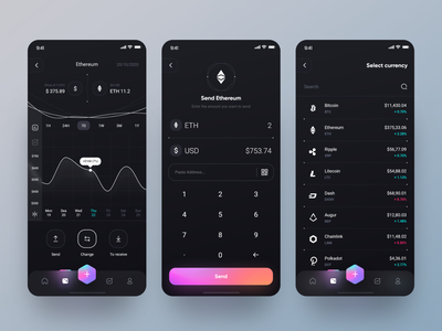 Banexcoin App 📲 interface chart design ui ux design fluent design ios app app send money gradient ethereum change coin crypto dark theme dark mode dark app wallet clean minimal ux ui