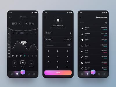 Banexcoin App 📲 interface chart design ui ux design fluent design ios app app send money gradient ethereum change coin crypto dark theme dark mode dark app wallet clean minimal ux ui