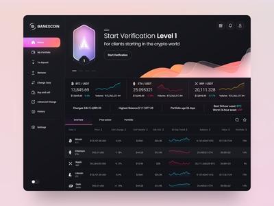 Banexcoin Desktop 💎 dark ui gradient vuesax vue vuejs dashboard admin application fluent crypto currency crypto exchange bitcoin desktop interface design clean minimal ux ui