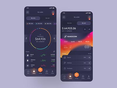 Banexcoin Wallet 💳 change gradient dark app components credit card btc bitcoins financial app bitcoin money exchange crypto coin wallet interface application app minimal ux ui