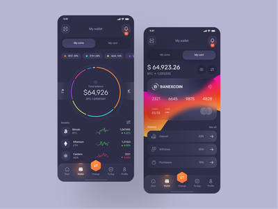 Banexcoin Wallet 💳 change gradient dark app components credit card btc bitcoins financial app bitcoin money exchange crypto coin wallet interface application app minimal ux ui