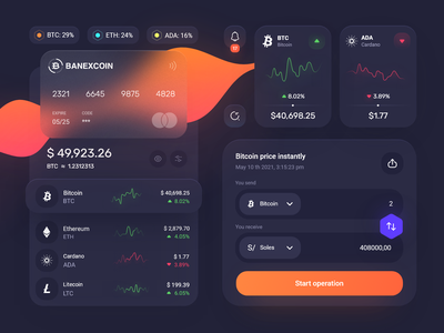 Banexcoin components 💎 dark mode exchange swap bitcoin btc product design ios table design system credit card buttons application app interface clean minimal ux ui ui kit components