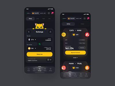 Swap 😺🤘 vuesax components design crypto ios application app dark mode cryptocurrency fluent interface minimal ux ui ethereum eth bitcoin btc exchange swap