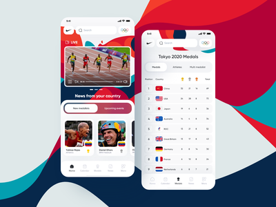 Nike Olympics App 💎 adobe xd gihub flutter ui design olympic games medals feed cards components colors ios application app olympics design interface clean minimal ux ui