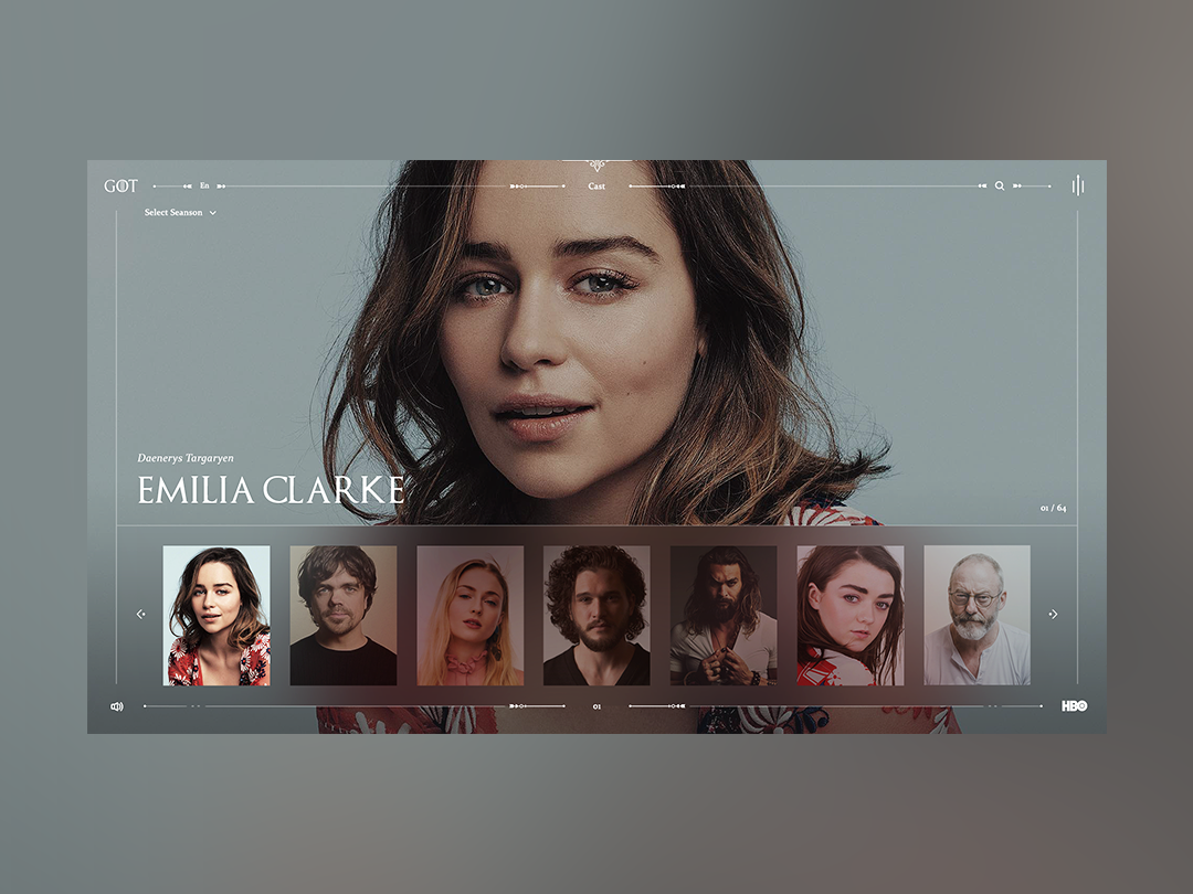 Game of Thrones - Cast modern concept minimalism layout design movie gameofthrones grid landing interface webdesign web clean minimal ux ui