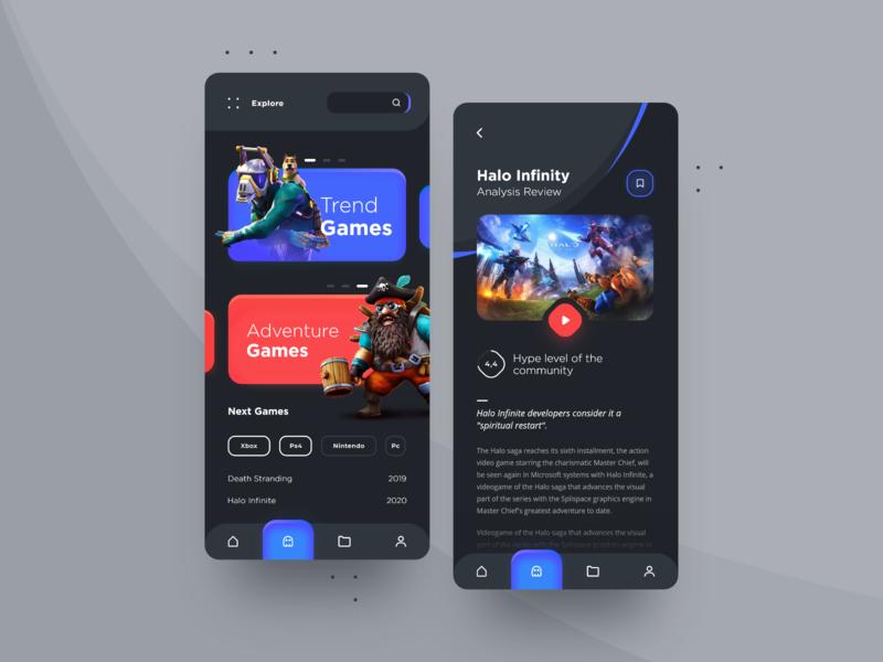 App Design Daily Ui 🎮📲 ios ui design card categories mobile colors modern interface uiux design ux ui dark app clean app games application apple app
