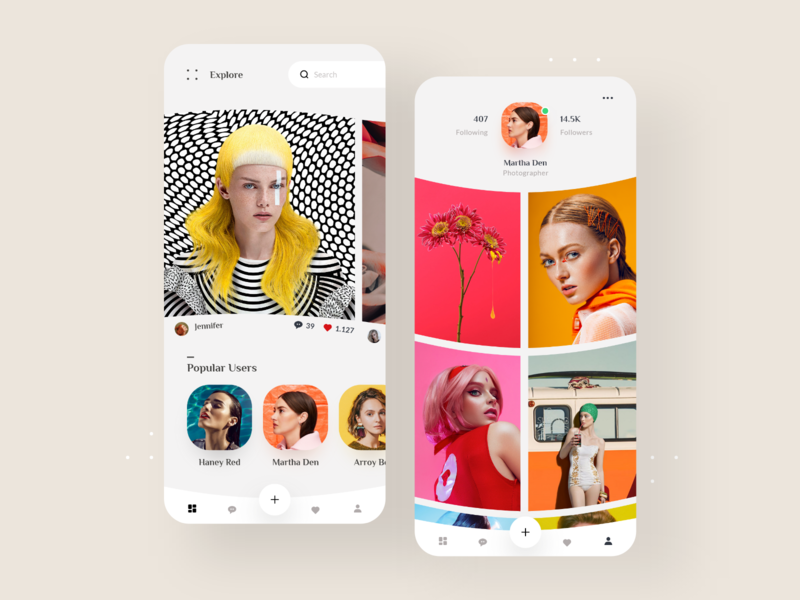 📲 Social App Design Photographers social app models photos abstract white mobile colorful apple modern ux ui clean gallery minimal application app