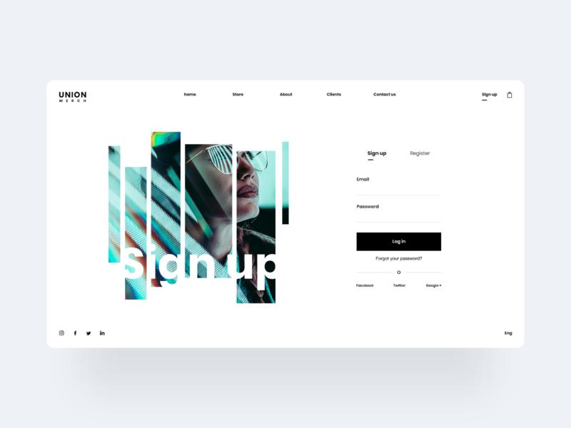 💻 Sign up - Union Merch register ecommerce flat design uiux design website desktop fashion simple ux ui webdesign landing web clean minimal sign up