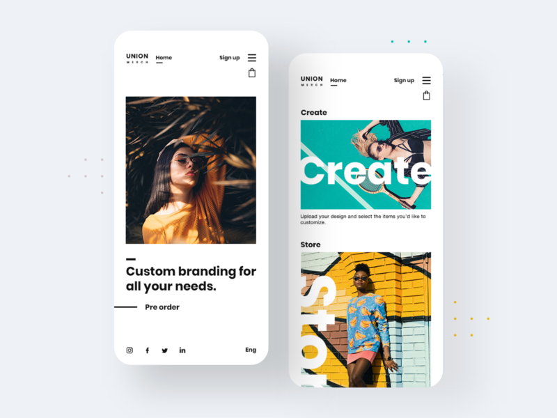 Union Merch Responsive Design 📲 fashion app webdesign uiux design ux ui eccomerce photos categories landing apple mobile app app design application clean minimal