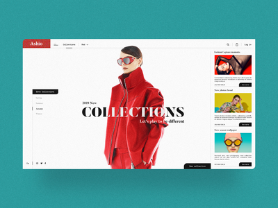 Web Ashio Colections Fashion Store 👜👗💲 typography minimalism uiux design store design ecommerce colors fashion desktop website webdesign ux ui minimal landing clean web