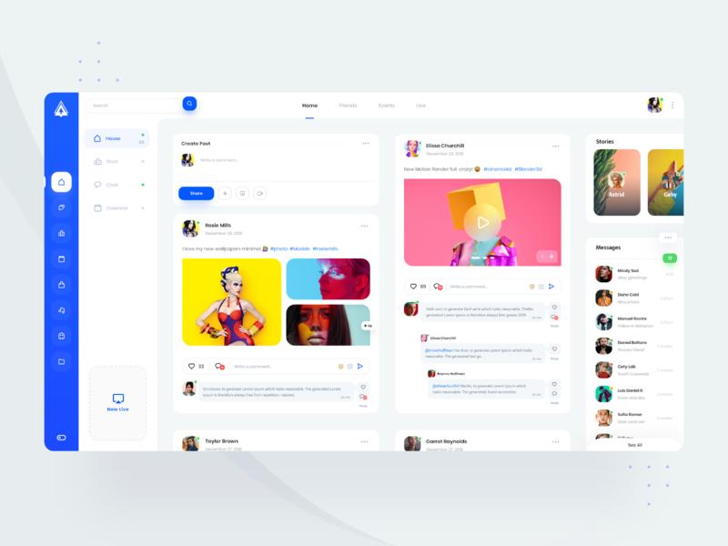 Lusaxweb Home Feed Social 💎 orizon photos chat app uiux design admin dashboard app desktop webdesign minimal web clean landing social app ux ui