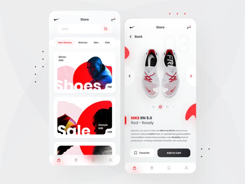 Nike Store Red! redesign nike app nike shop application red app webdesign interface landing web clean design minimal ux ui