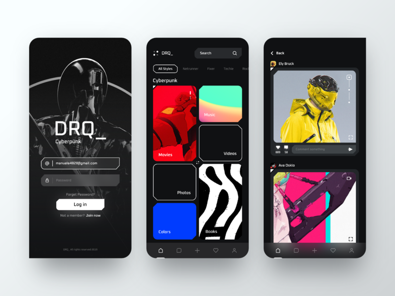App Dark Cyberpunk fluent ui trend feed ui ux design dark app application colors app modern clean interface design minimal cyberpunk ux ui