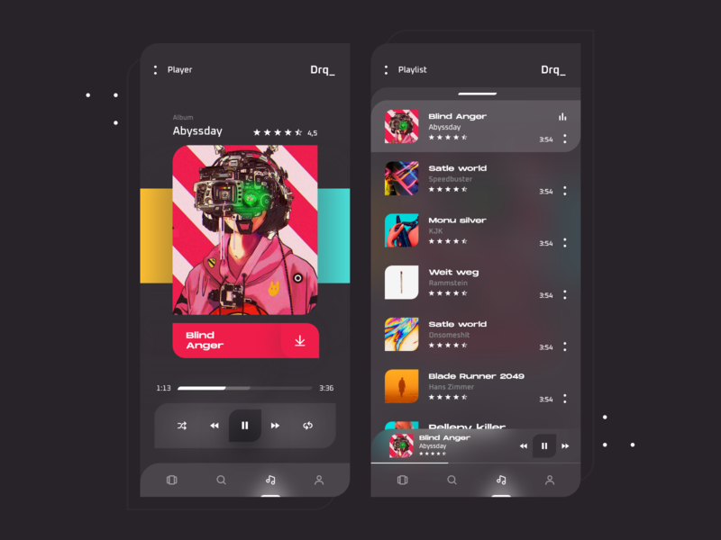 App Music Drq_ manuel rovira song playlist player play music player music app music fluent design minimal clean artist app design ux ui