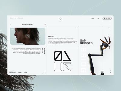 Sam Bridges - Death Stranding ☠🦀🌈🐟🐋🖤 games typeface uiux design texture desktop design website webdesign interface landing web clean ux ui minimal