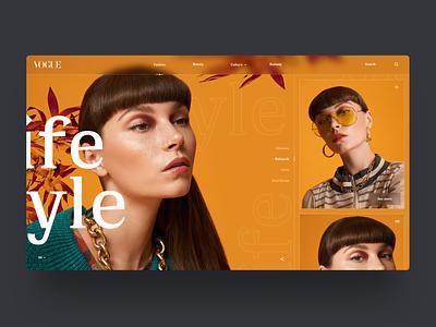 VOGUE - Lifestyle 👠 landing page design desktop fashion design gallery full screen vogue website webdesign interface landing web design clean minimal ux ui