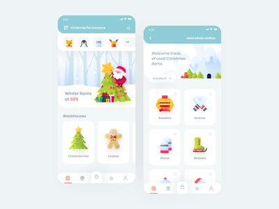 Christmas Store App 🎅🎄 shop icons items store application christmas interface vector illustration app design clean minimal ux ui