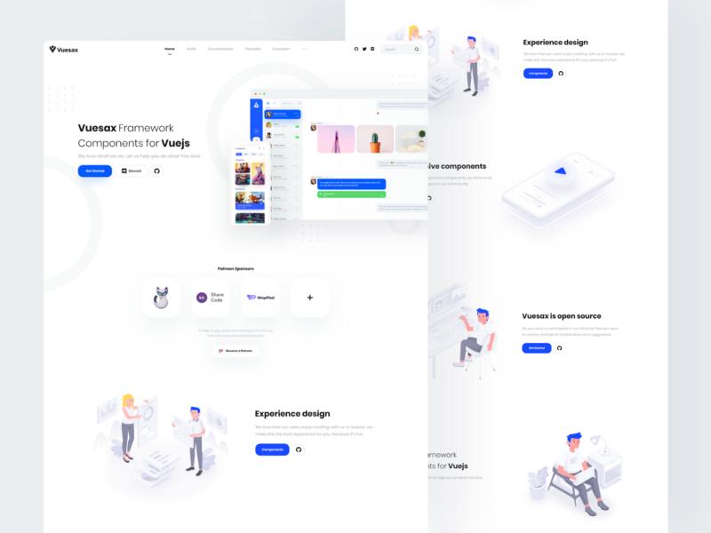 Vuesax 4.0 Landing components framework vue.js vuejs vue vuesax desktop webdesign interface landing web design clean minimal ux ui