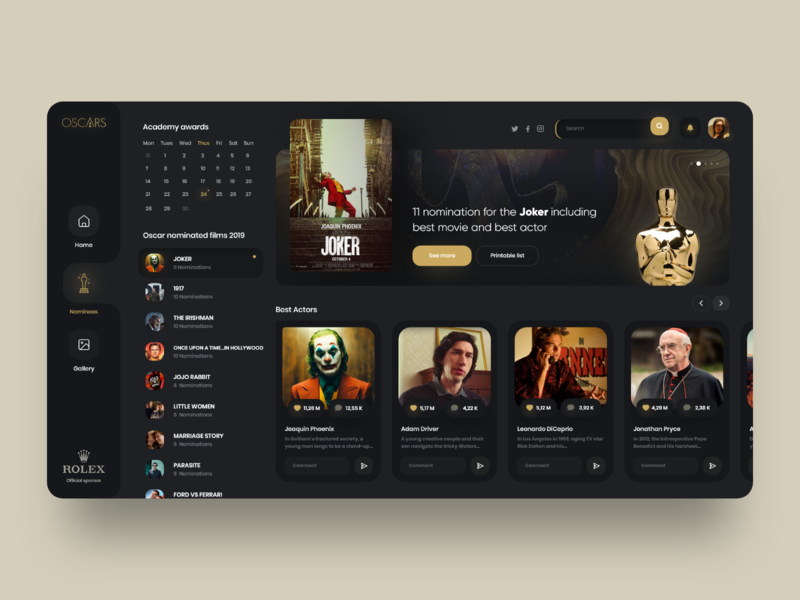 Oscar Nominations 2020 🏆 vuesax orizon uiux design dashboard admin oscars application desktop interface landing web design clean minimal ux ui