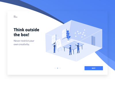 Think outside the box! illustration graphic ux ui app web desktop design system work working drawing business startup business canvas moldr landing page vector flat design typography