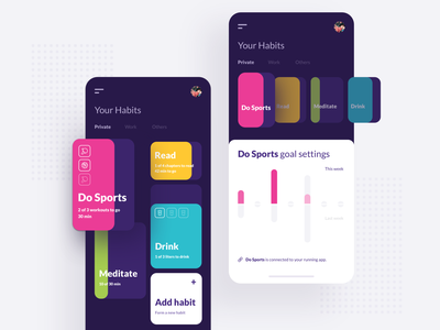 What you can do with Liquid – Vol. 9 – Habit tracker design machine learning liquid design system table ranking health science healthcare copy text links buttons elements mobile atomic dashboard landing page website ui ux