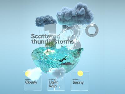 UI for a MR Weather app illustration ux 3d