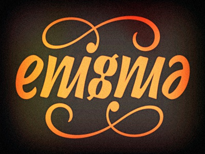 Enigma Ambigram illusion rotate turn flip letters script typography writing words lettering