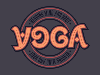 Yoga Ambigram optical illusion typography script type letters words