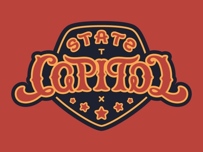 State Capitol Reflection Ambigram optical illusion typography script type letters words