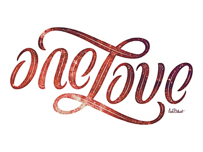 One Love Ambigram illusion texture font quote writing script words cursive lettering type