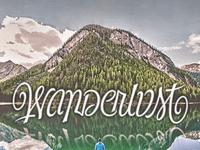 Wanderlust Ambigram illusion font quote writing script words cursive lettering type