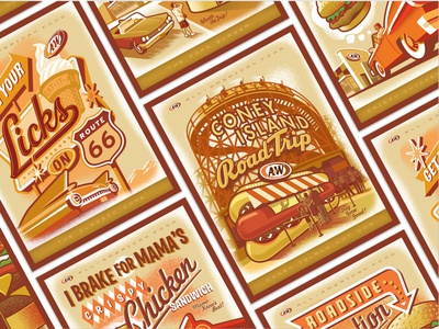A&W Poster Series family warm retro classic car hot dog golden nostalgic classic vintage road trip diner soft serve root beer print poster route 66 coney island illustration design