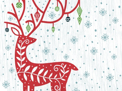 Georgia-Pacific Target Winter Deer print pattern pine tree tree ornament snowflake festive plate reindeer deer holiday christmas surface design illustration design
