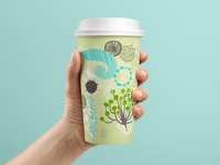 Georgia-Pacific PerfecTouch Coffee Cup calm earthy print seed wind leaves floral greenery nature blossom sage swirls paper cup coffee cup surface design illustration design