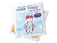 Mardi Gras Conversation Starter Napkins cartoon fun power approachable character print superhero napkin cute puns riddles jokes surface design illustration design