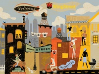 Pizza Hut WingStreet Mural busy muted colors firey blimp spicy watertower cityscape pedestrian trendy people modern urban texture colorblock city murals environmental design surface design design