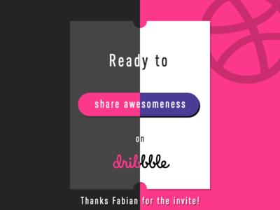 Hello Dribbble! invite ticket hello welcome debut dribbble