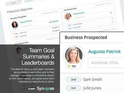 Synappse - Team Goal Summaries & Leaderboards application web app design ux ui
