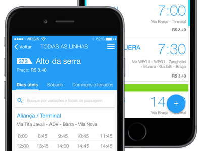 Detalhe das linhas: Vou de ônibus voudeonibus hour table app bus material ui