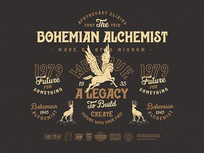 Bohemian Alchemist Font & Badges punk retro old hipster vintage pegasus handmade type font alchemist bohemian