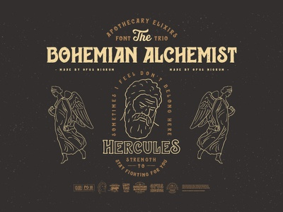 Bohemian Alchemist Font & Badges punk retro old hipster vintage hercules handmade type font alchemist bohemian