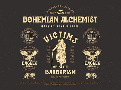 Bohemian Alchemist Font & Badges retro old hipster vintage eagle tiger rome handmade type font alchemist bohemian