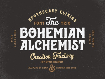 Bohemian Alchemist Font & Badges punk retro old hipster vintage factory creation handmade type font alchemist bohemian