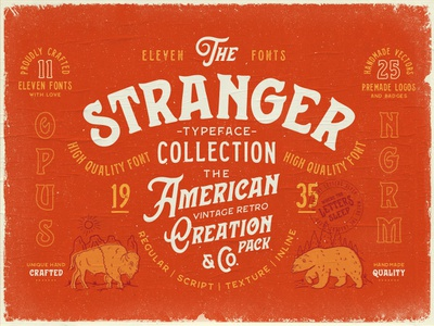 Stranger Font By Opus Nigrum opusnigrum collection typeface american bison buffalo bear western typography logo label denim type traditional hipster vintage retro old handmade font