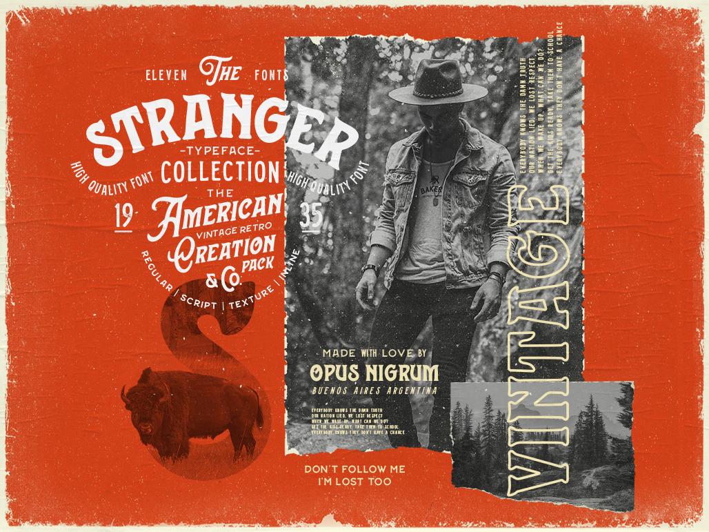 Stranger Font By Opus Nigrum american stranger label logo denim type traditional hipster vintage old retro handmade font