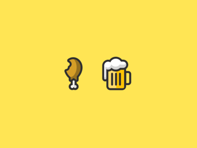 Chicken + Beer food illustration vector beer chicken flat icons