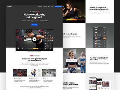 Classpass Live Web landing page web design live fitness classpass video hero layout web design