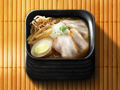 Ramen App Icon photoshop ramen ios app icon bowl bamboo pork food egg japanese noodles