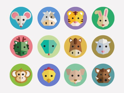 Chinese Zodiac Icons zodiac icons illustration vector mouse cow tiger rabbit dragon snake horse sheep monkey rooster dog boar flat colorful animals chinese iconography badges app
