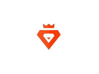 Lion King orange logo mark icon wordmark branding identity flat vector lion king crown animal simple minimal diamond triangle